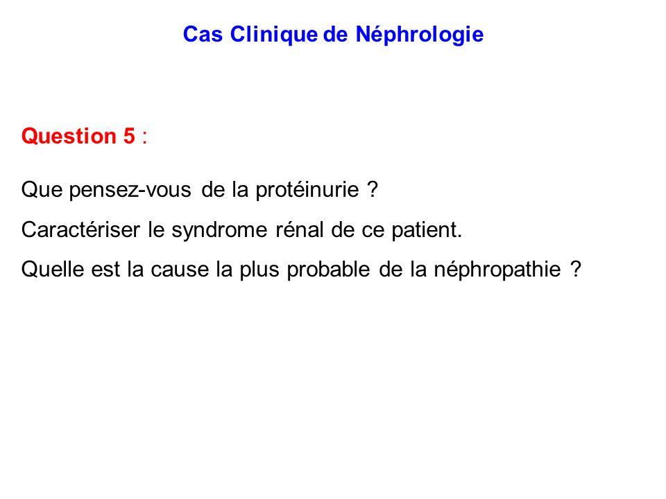 Cas Clinique de Néphrologie Question 5 : Que pensez-vous de la protéinurie ? Caractériser le syndrome rénal de ce patient. Quelle est la cause la plus