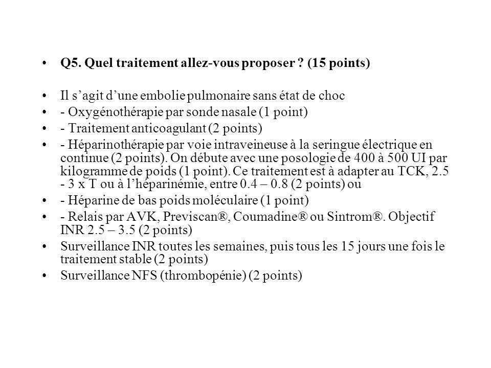 Q5. Quel traitement allez-vous proposer ? (15 points) Il sagit dune embolie pulmonaire sans état de choc - Oxygénothérapie par sonde nasale (1 point)
