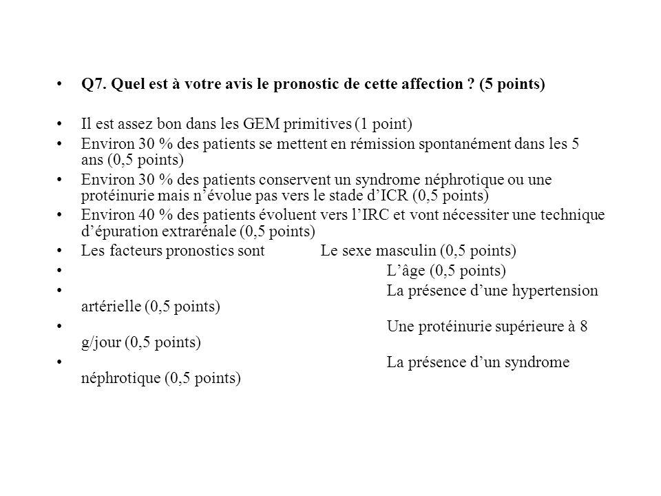 Q7. Quel est à votre avis le pronostic de cette affection ? (5 points) Il est assez bon dans les GEM primitives (1 point) Environ 30 % des patients se