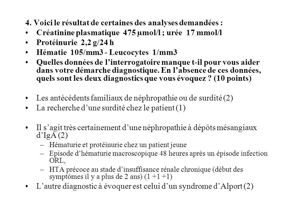 4. Voici le résultat de certaines des analyses demandées : Créatinine plasmatique 475 µmol/l ; urée 17 mmol/l Protéinurie 2,2 g/24 h Hématie 105/mm3 -
