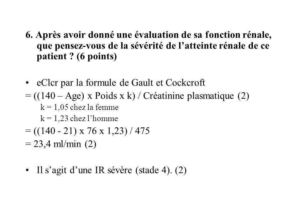 6. Après avoir donné une évaluation de sa fonction rénale, que pensez-vous de la sévérité de latteinte rénale de ce patient ? (6 points) eClcr par la
