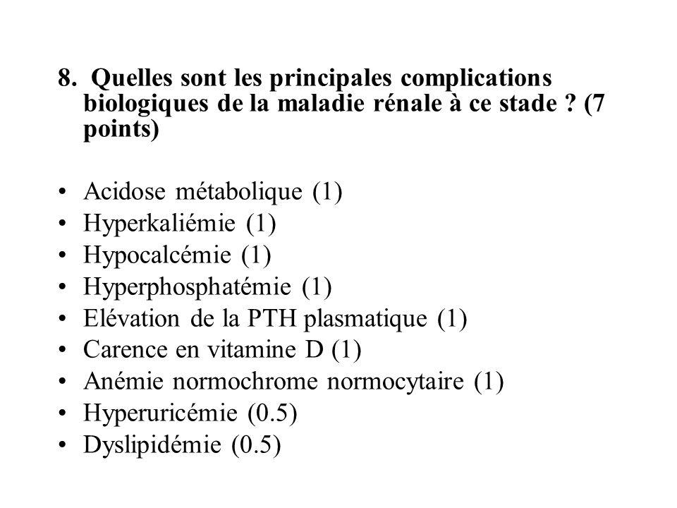8. Quelles sont les principales complications biologiques de la maladie rénale à ce stade ? (7 points) Acidose métabolique (1) Hyperkaliémie (1) Hypoc