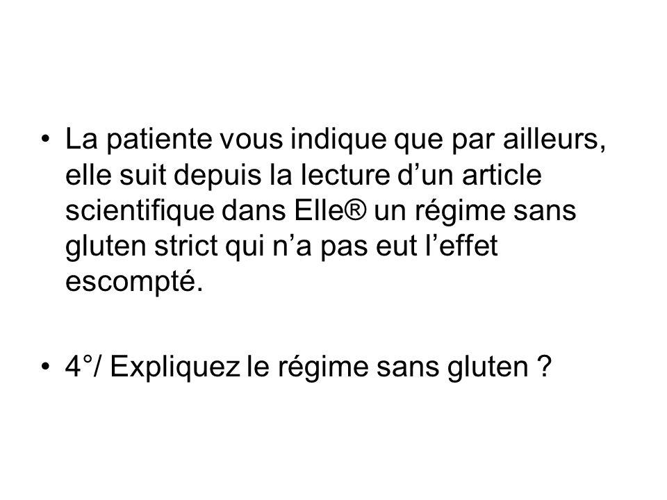 La patiente vous indique que par ailleurs, elle suit depuis la lecture dun article scientifique dans Elle® un régime sans gluten strict qui na pas eut