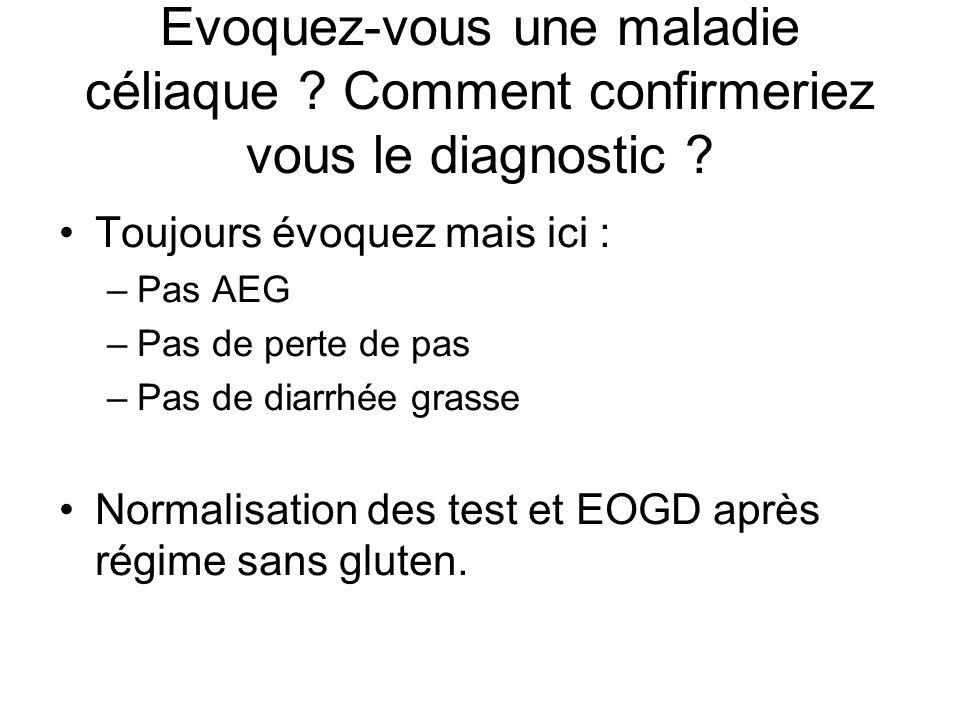 Toujours évoquez mais ici : –Pas AEG –Pas de perte de pas –Pas de diarrhée grasse Normalisation des test et EOGD après régime sans gluten.