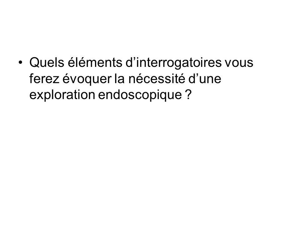 Quels éléments dinterrogatoires vous ferez évoquer la nécessité dune exploration endoscopique ?