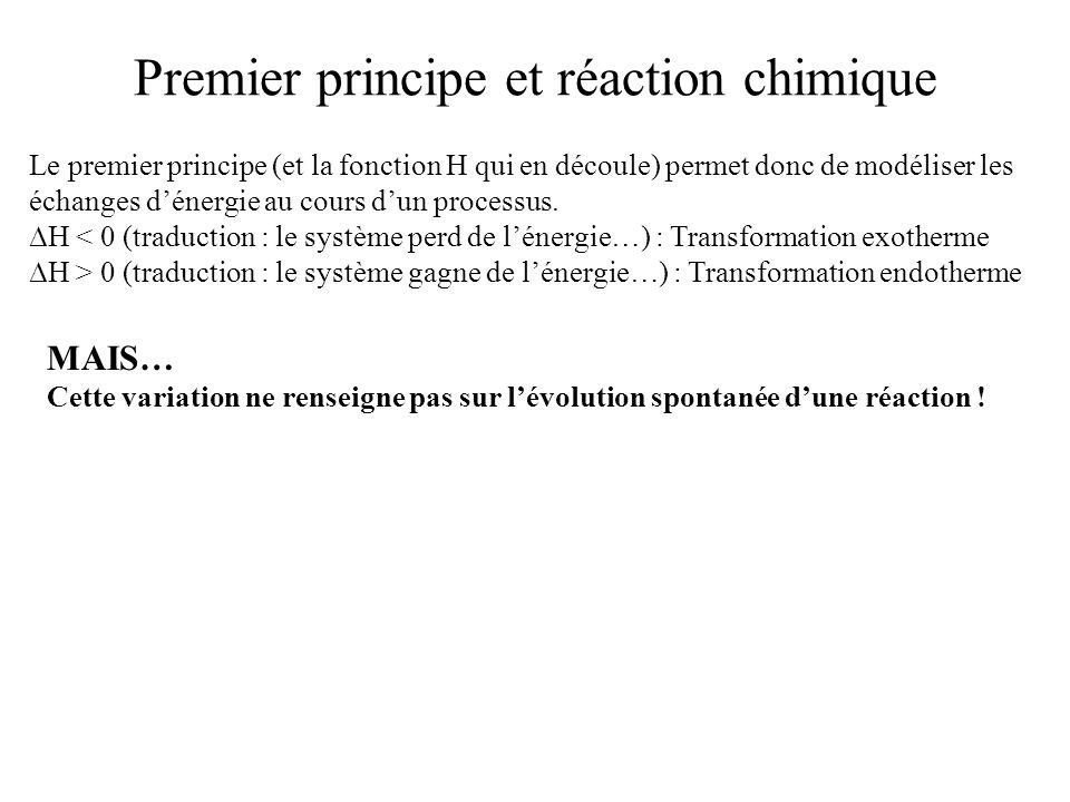 Premier principe et réaction chimique Le premier principe (et la fonction H qui en découle) permet donc de modéliser les échanges dénergie au cours du