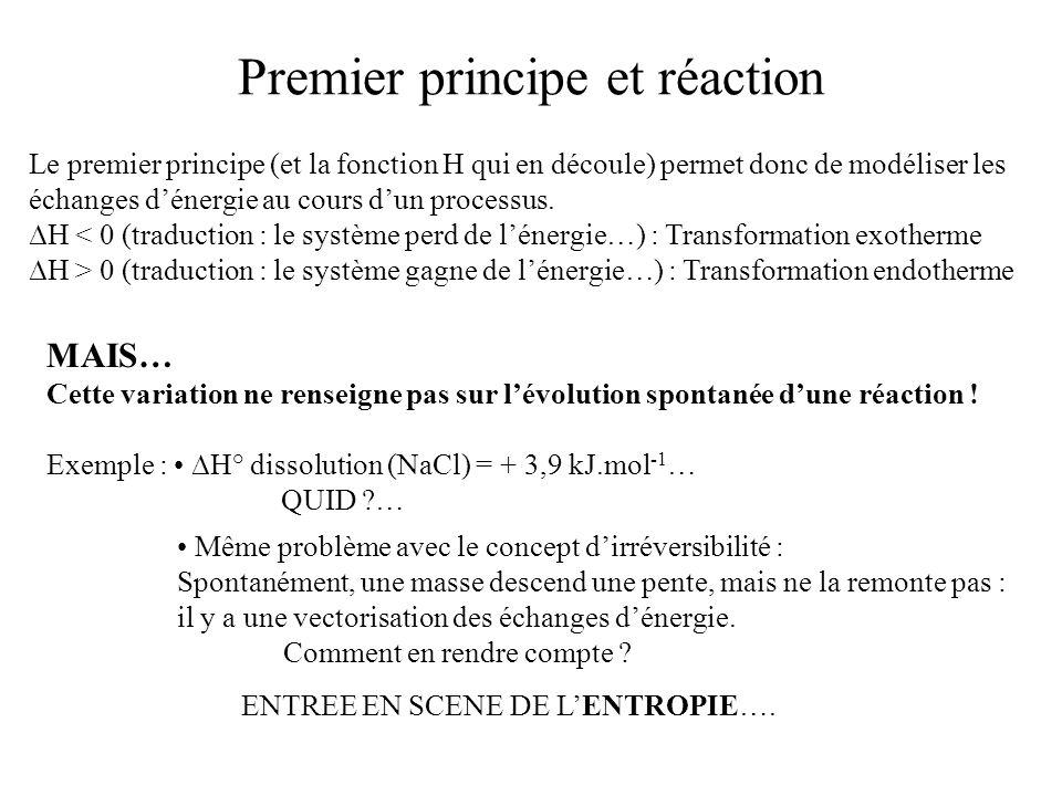 Premier principe et réaction Le premier principe (et la fonction H qui en découle) permet donc de modéliser les échanges dénergie au cours dun process