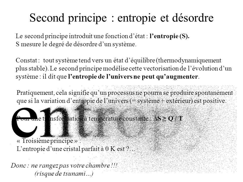Second principe : entropie et désordre Le second principe introduit une fonction détat : lentropie (S). S mesure le degré de désordre dun système. Con