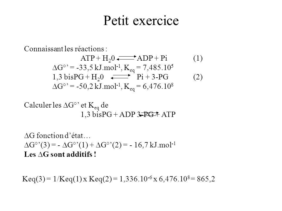 Petit exercice Connaissant les réactions : ATP + H 2 0ADP + Pi(1) G° = -33,5 kJ.mol -1, K eq = 7,485.10 5 1,3 bisPG + H 2 0Pi + 3-PG(2) G° = -50,2 kJ.