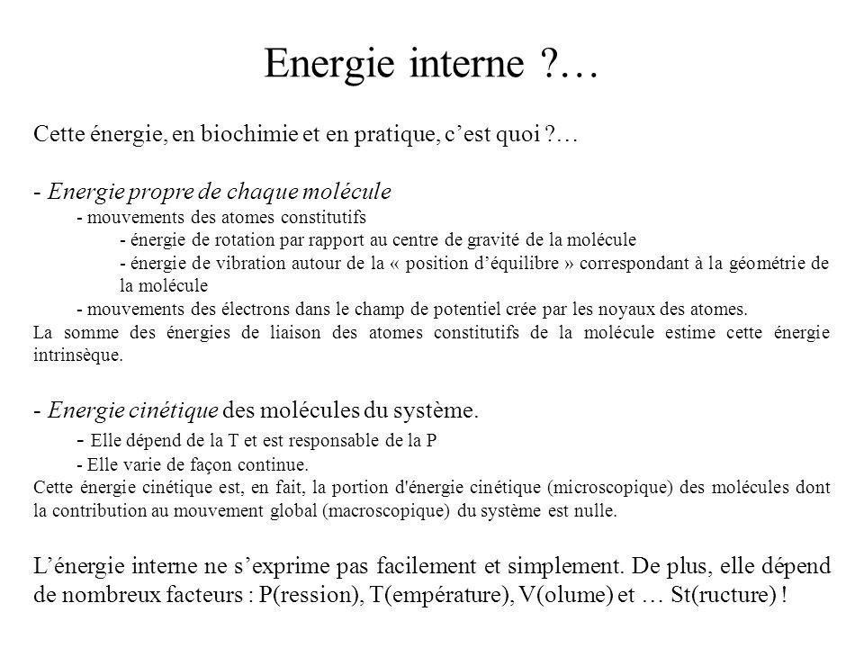 Cette énergie, en biochimie et en pratique, cest quoi ?… - Energie propre de chaque molécule - mouvements des atomes constitutifs - énergie de rotatio