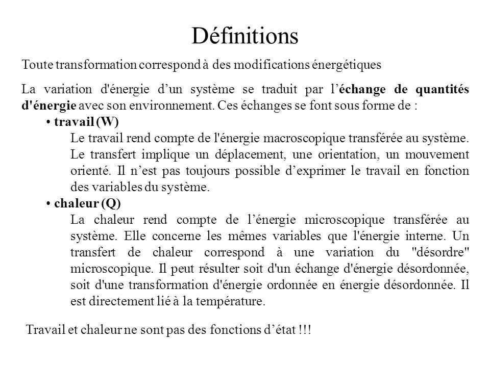 Toute transformation correspond à des modifications énergétiques La variation d'énergie dun système se traduit par léchange de quantités d'énergie ave
