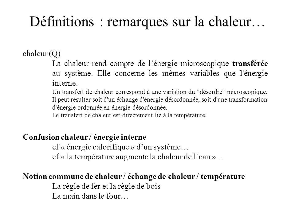 Confusion chaleur / énergie interne cf « énergie calorifique » dun système… cf « la température augmente la chaleur de leau »… Notion commune de chale