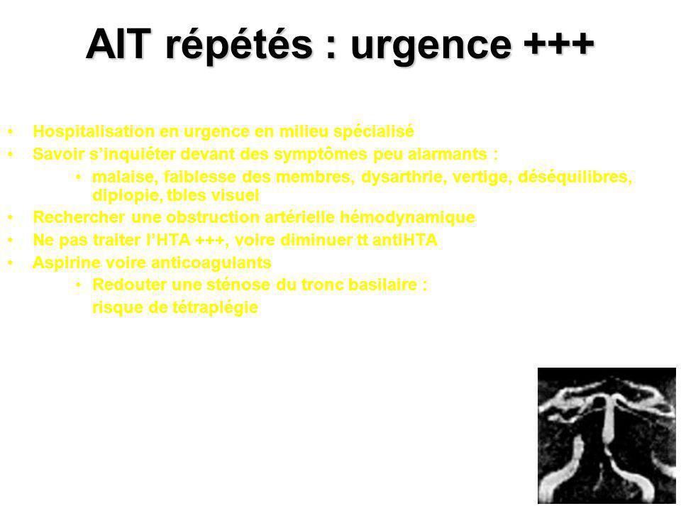 AIT répétés : urgence +++ Hospitalisation en urgence en milieu spécialisé Savoir sinquiéter devant des symptômes peu alarmants : malaise, faiblesse de