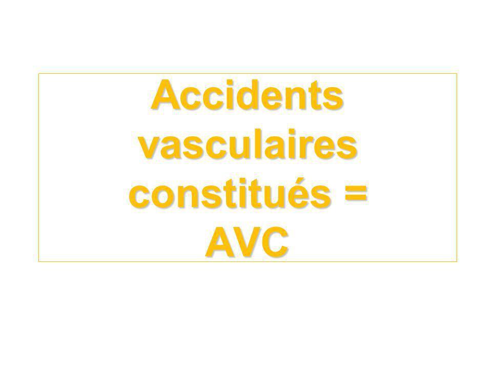 Accidents vasculaires constitués = AVC