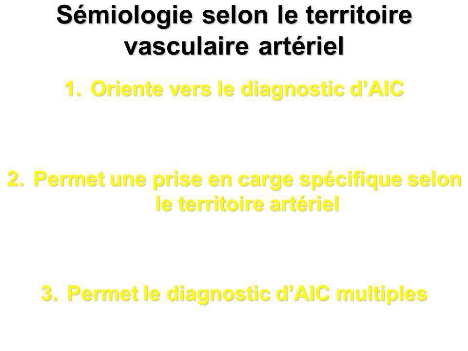 Sémiologie selon le territoire vasculaire artériel 1.Oriente vers le diagnostic dAIC 2.Permet une prise en carge spécifique selon le territoire artéri
