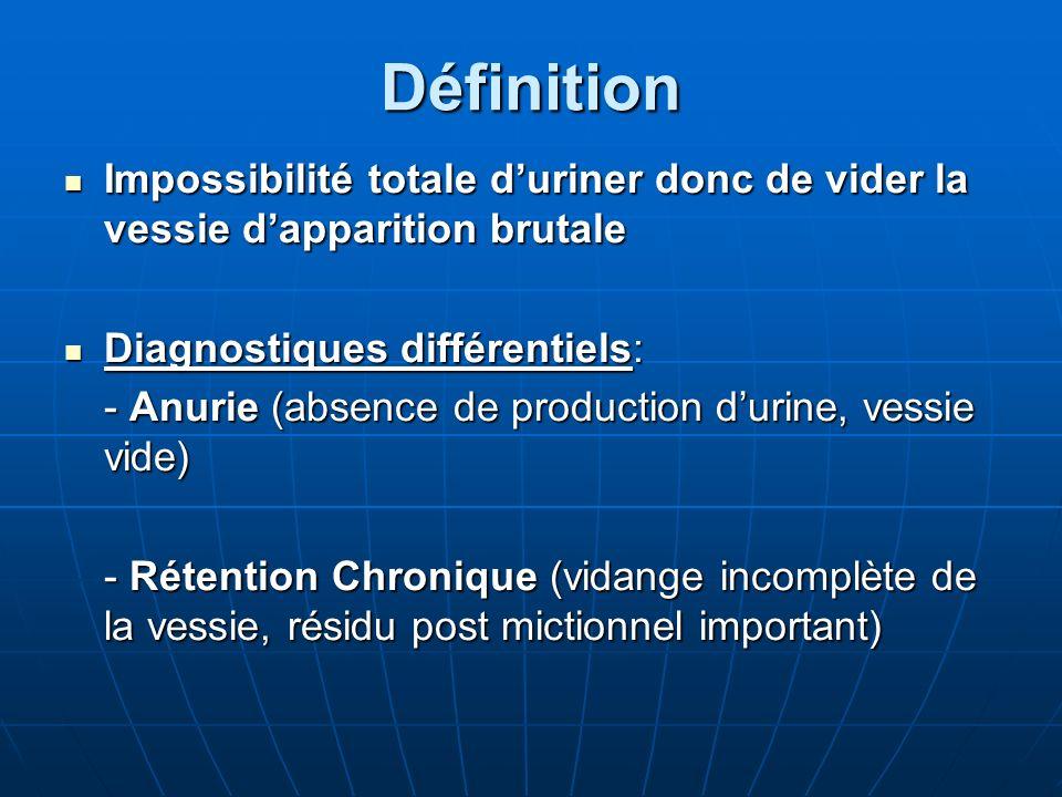 Définition Impossibilité totale duriner donc de vider la vessie dapparition brutale Impossibilité totale duriner donc de vider la vessie dapparition b
