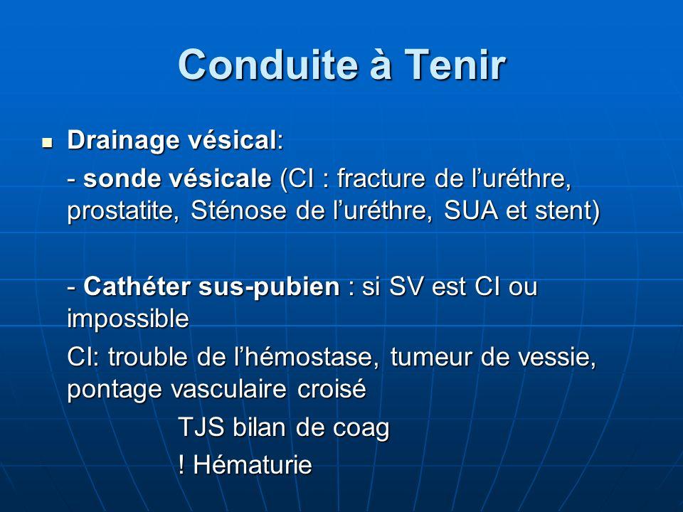 Conduite à Tenir Drainage vésical: Drainage vésical: - sonde vésicale (CI : fracture de luréthre, prostatite, Sténose de luréthre, SUA et stent) - Cat