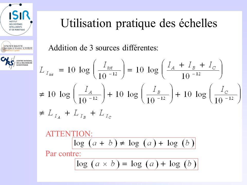 Utilisation pratique des échelles Addition de 3 sources différentes: I A,I B, I C Il faut déterminer les niveaux sonores correspondants:
