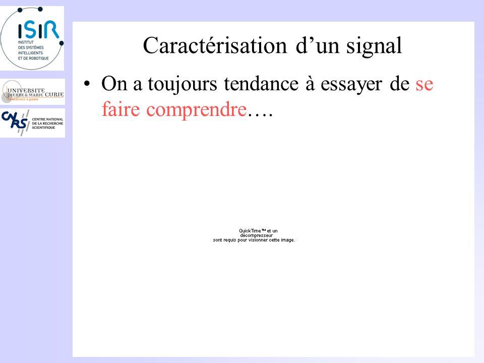 Caractérisation dun signal Exemple de sons: Voiture à larrêt Voiture à 33 mpH (fenêtre ouverte) Voiture à 55 mpH (fenêtre ouverte)