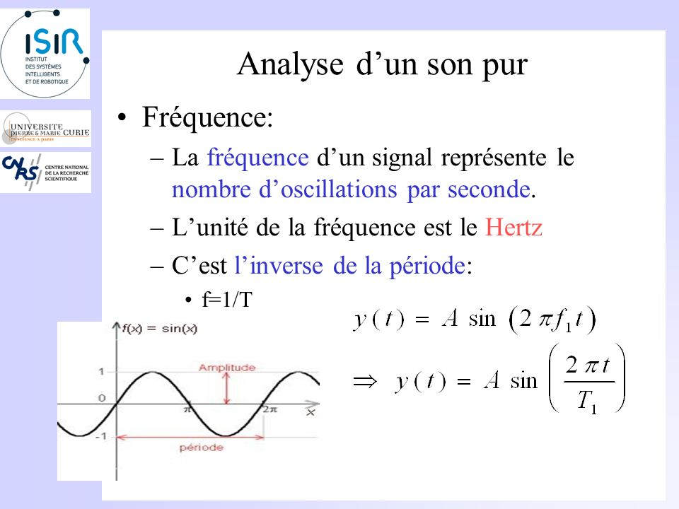 Analyse dun son pur Période: –Le signal se reproduit identiquement à lui même à un intervalle temporel régulier. Cet intervalle régulier est appelé pé