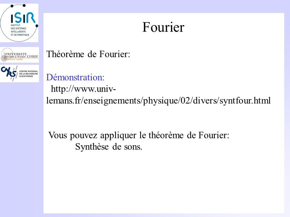 Fourier Théorème de Fourier: Une fonction périodique de fréquence f 0 peut sécrire sous la forme dune somme de fonctions sinusoïdales de fréquences mu
