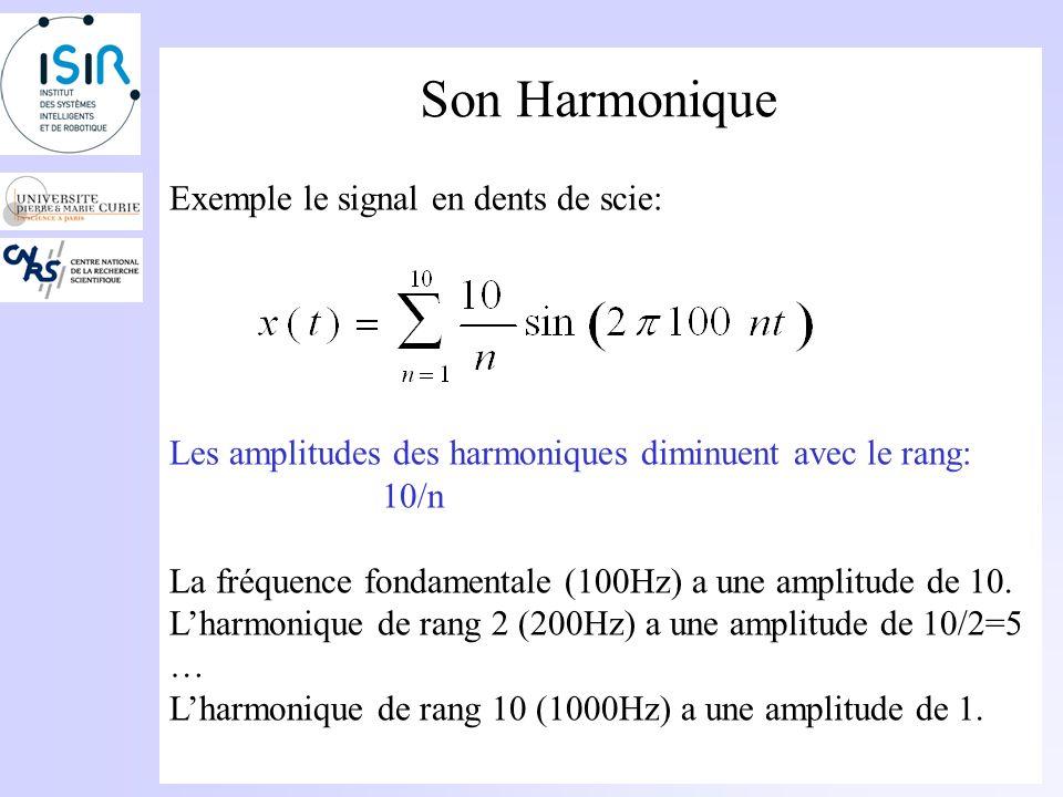 Son Harmonique On appelle son harmonique, un son dont le régime sonore peut être considéré comme la superposition de sinusoïdes pures dont les fréquences ont un rapport entier avec une fréquence particulière : la fréquence fondamentale.
