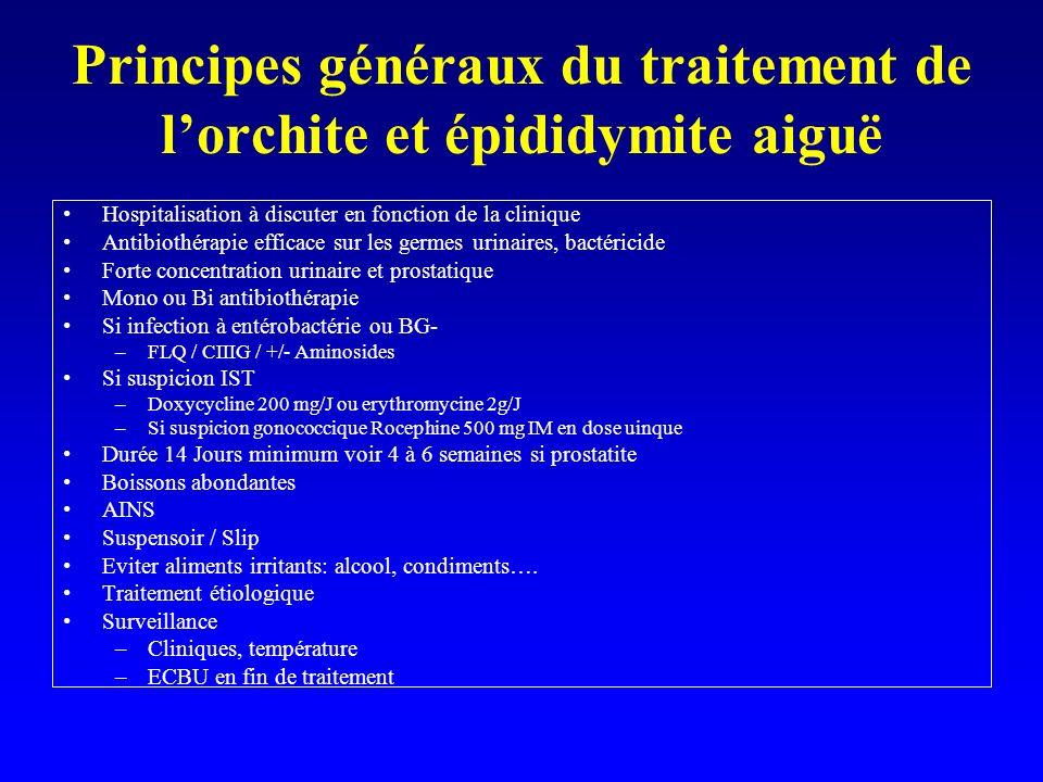 Principes généraux du traitement de lorchite et épididymite aiguë Hospitalisation à discuter en fonction de la clinique Antibiothérapie efficace sur l