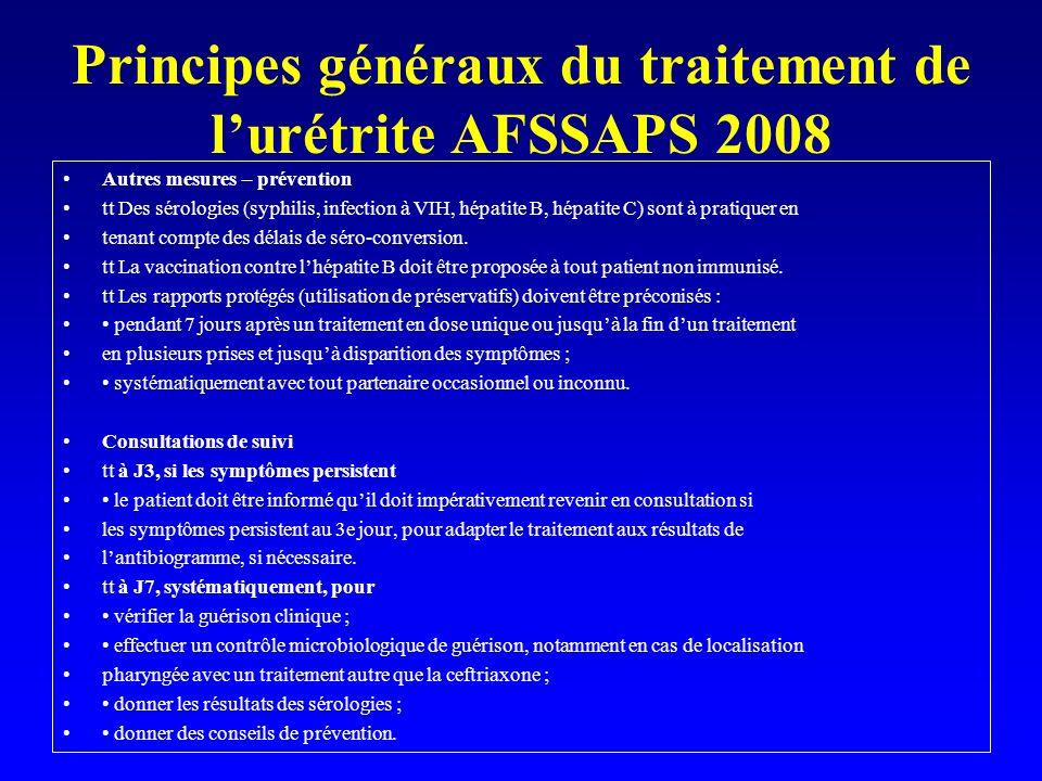 Principes généraux du traitement de lurétrite AFSSAPS 2008 Autres mesures – prévention tt Des sérologies (syphilis, infection à VIH, hépatite B, hépat