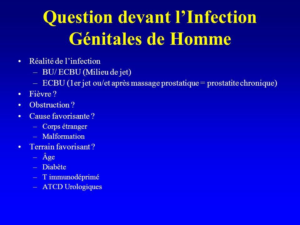 Question devant lInfection Génitales de Homme Réalité de linfection –BU/ ECBU (Milieu de jet) –ECBU (1er jet ou/et après massage prostatique = prostat
