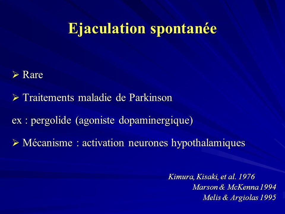 Ejaculation spontanée Rare Rare Traitements maladie de Parkinson Traitements maladie de Parkinson ex : pergolide (agoniste dopaminergique) Mécanisme : activation neurones hypothalamiques Mécanisme : activation neurones hypothalamiques Kimura, Kisaki, et al.