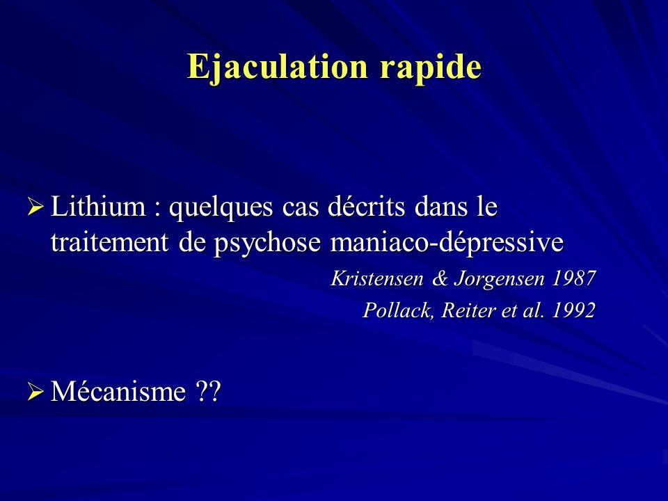 Ejaculation rapide Lithium : quelques cas décrits dans le traitement de psychose maniaco-dépressive Lithium : quelques cas décrits dans le traitement de psychose maniaco-dépressive Kristensen & Jorgensen 1987 Pollack, Reiter et al.