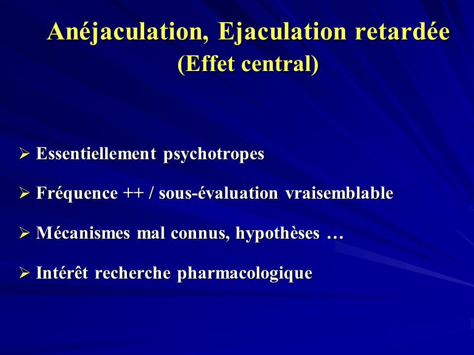 Anéjaculation, Ejaculation retardée (Effet central) Essentiellement psychotropes Essentiellement psychotropes Fréquence ++ / sous-évaluation vraisemblable Fréquence ++ / sous-évaluation vraisemblable Mécanismes mal connus, hypothèses … Mécanismes mal connus, hypothèses … Intérêt recherche pharmacologique Intérêt recherche pharmacologique