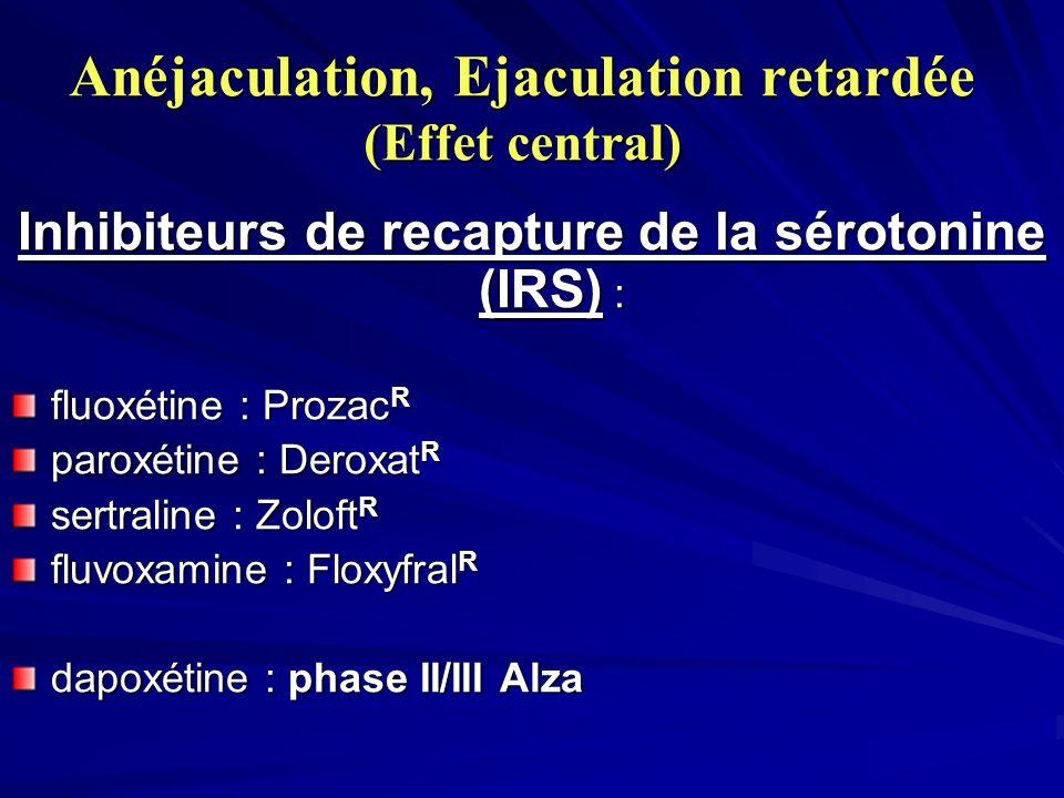 Anéjaculation, Ejaculation retardée (Effet central) Inhibiteurs de recapture de la sérotonine (IRS) : fluoxétine : Prozac R paroxétine : Deroxat R sertraline : Zoloft R fluvoxamine : Floxyfral R dapoxétine : phase II/III Alza