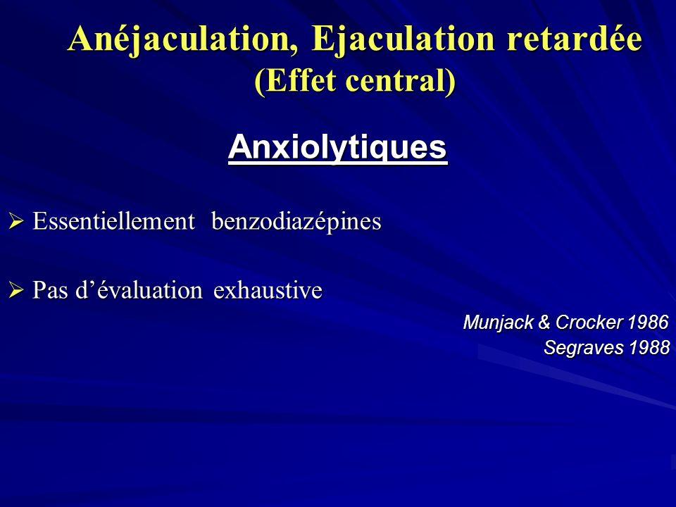 Anéjaculation, Ejaculation retardée (Effet central) Anxiolytiques Essentiellement benzodiazépines Essentiellement benzodiazépines Pas dévaluation exhaustive Pas dévaluation exhaustive Munjack & Crocker 1986 Munjack & Crocker 1986 Segraves 1988