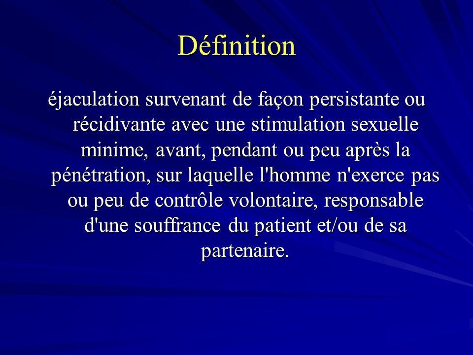 Définition éjaculation survenant de façon persistante ou récidivante avec une stimulation sexuelle minime, avant, pendant ou peu après la pénétration, sur laquelle l homme n exerce pas ou peu de contrôle volontaire, responsable d une souffrance du patient et/ou de sa partenaire.