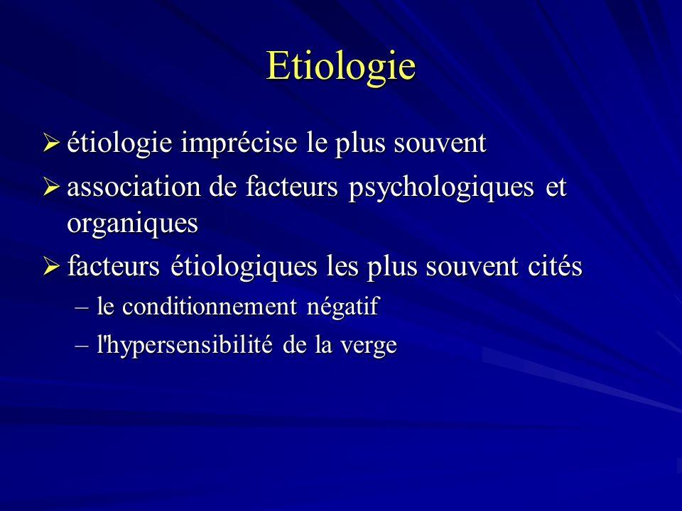 Etiologie étiologie imprécise le plus souvent étiologie imprécise le plus souvent association de facteurs psychologiques et organiques association de facteurs psychologiques et organiques facteurs étiologiques les plus souvent cités facteurs étiologiques les plus souvent cités –le conditionnement négatif –l hypersensibilité de la verge