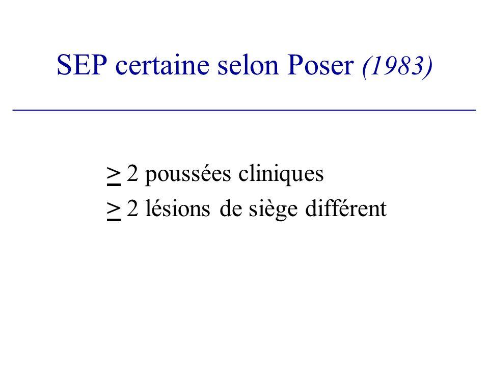 SEP certaine selon Poser (1983) > 2 poussées cliniques > 2 lésions de siège différent