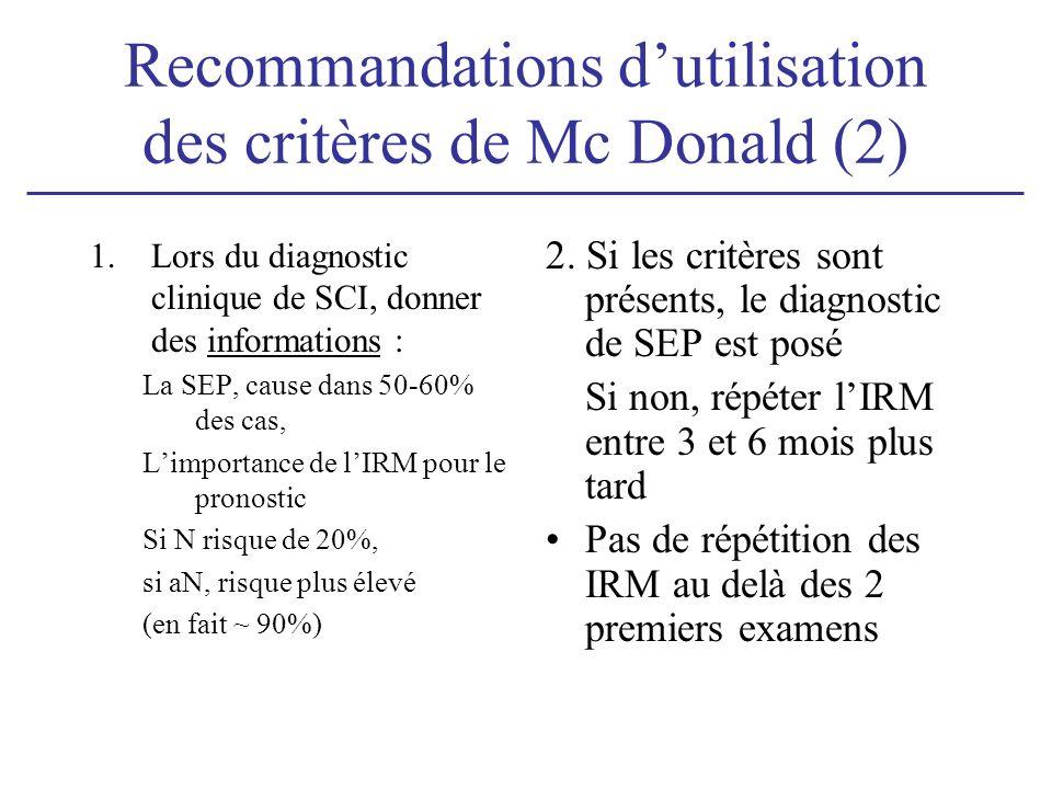 Recommandations dutilisation des critères de Mc Donald (2) 1.Lors du diagnostic clinique de SCI, donner des informations : La SEP, cause dans 50-60% d