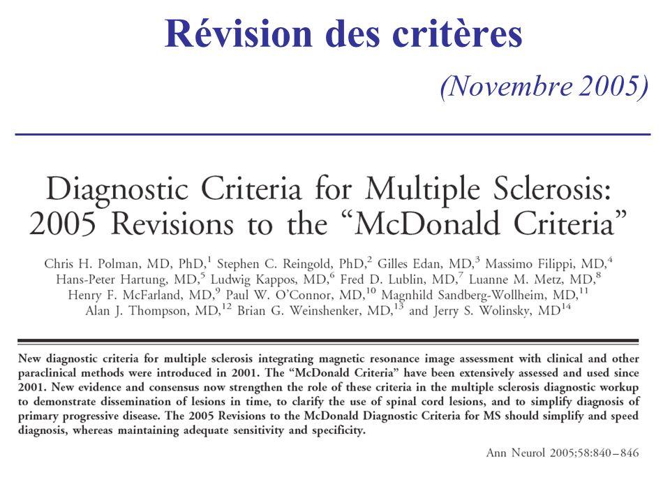 Révision des critères (Novembre 2005)