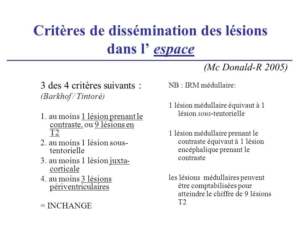 Critères de dissémination des lésions dans l espace 3 des 4 critères suivants : (Barkhof / Tintoré) 1. au moins 1 lésion prenant le contraste, ou 9 lé