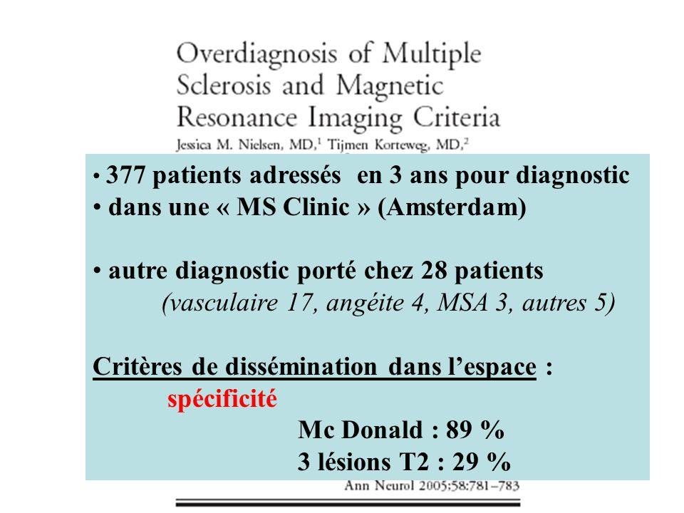 377 patients adressés en 3 ans pour diagnostic dans une « MS Clinic » (Amsterdam) autre diagnostic porté chez 28 patients (vasculaire 17, angéite 4, MSA 3, autres 5) Critères de dissémination dans lespace : spécificité Mc Donald : 89 % 3 lésions T2 : 29 %