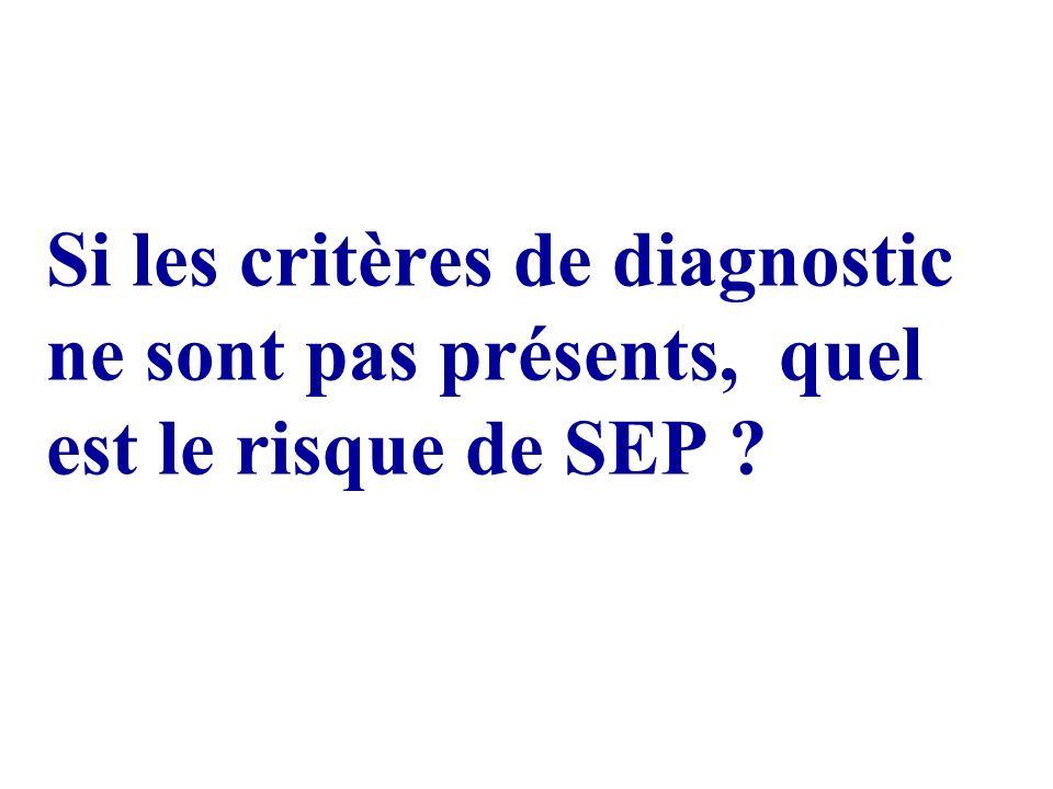 Si les critères de diagnostic ne sont pas présents, quel est le risque de SEP ?