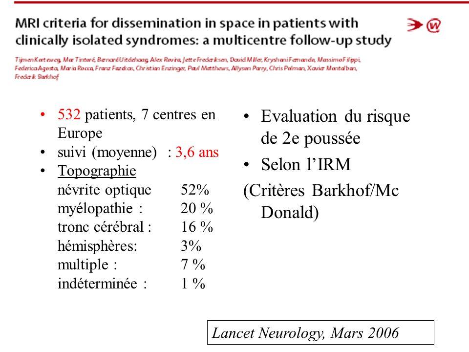 532 patients, 7 centres en Europe suivi (moyenne) : 3,6 ans Topographie névrite optique 52% myélopathie : 20 % tronc cérébral : 16 % hémisphères: 3% multiple : 7 % indéterminée : 1 % Evaluation du risque de 2e poussée Selon lIRM (Critères Barkhof/Mc Donald) Lancet Neurology, Mars 2006