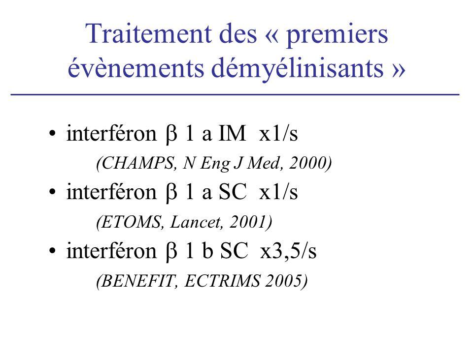 Traitement des « premiers évènements démyélinisants » interféron 1 a IM x1/s (CHAMPS, N Eng J Med, 2000) interféron 1 a SC x1/s (ETOMS, Lancet, 2001) interféron 1 b SC x3,5/s (BENEFIT, ECTRIMS 2005)