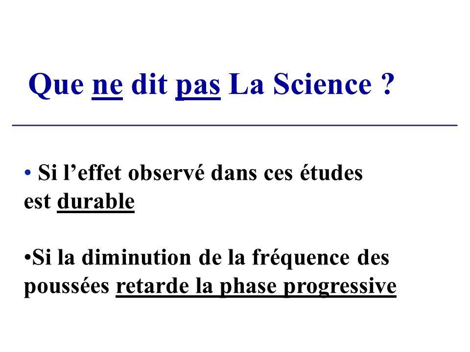 Que ne dit pas La Science ? Si leffet observé dans ces études est durable Si la diminution de la fréquence des poussées retarde la phase progressive