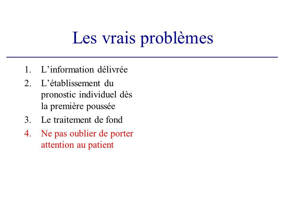 Les vrais problèmes 1.Linformation délivrée 2.Létablissement du pronostic individuel dès la première poussée 3.Le traitement de fond 4.Ne pas oublier de porter attention au patient