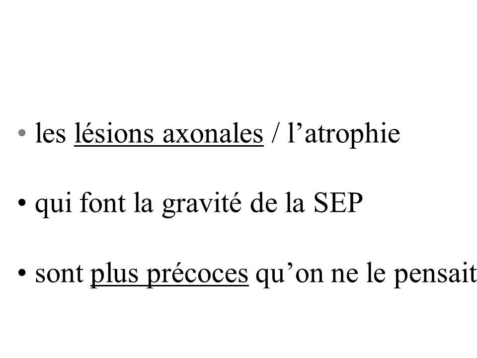 les lésions axonales / latrophie qui font la gravité de la SEP sont plus précoces quon ne le pensait