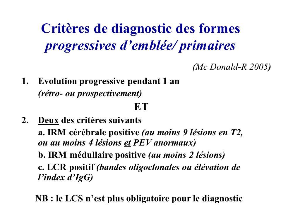 Critères de diagnostic des formes progressives demblée/ primaires 1.Evolution progressive pendant 1 an (rétro- ou prospectivement) ET 2.Deux des critè