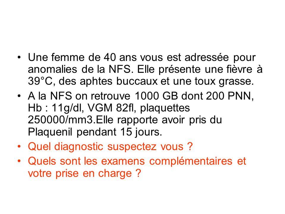 Une femme de 40 ans vous est adressée pour anomalies de la NFS.