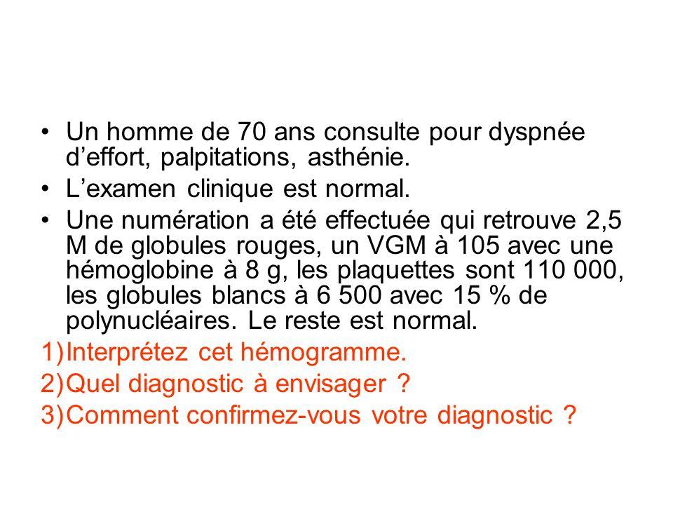 Un homme de 70 ans consulte pour dyspnée deffort, palpitations, asthénie. Lexamen clinique est normal. Une numération a été effectuée qui retrouve 2,5
